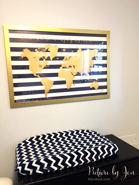 navy and gold world map