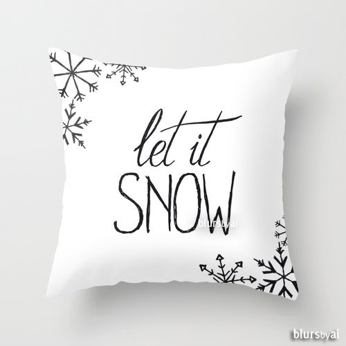 Let it snow hand lettered pillow