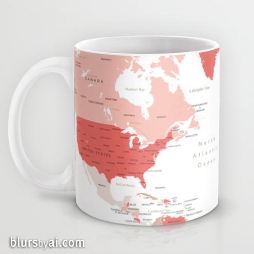 coral and taupe world map mug 2