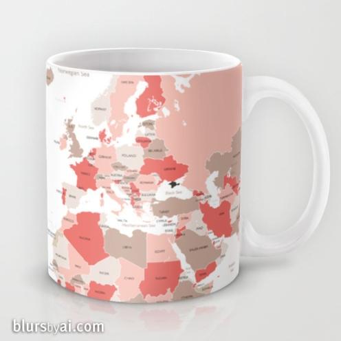 coral and taupe world map mug