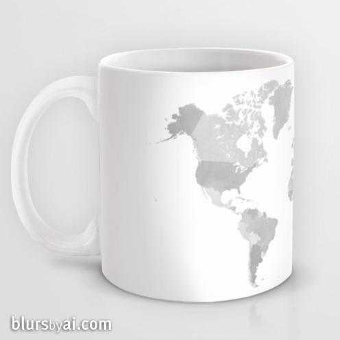 grayscale world map mug 2