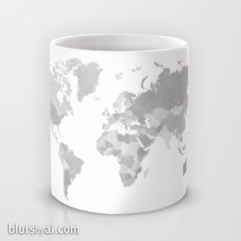 grayscale world map mug