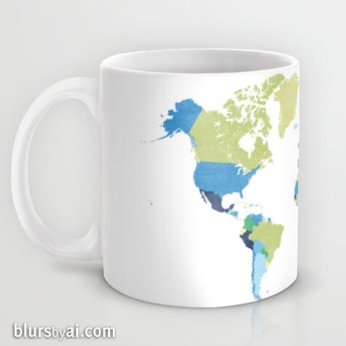 Lime green and blue world map mug 1