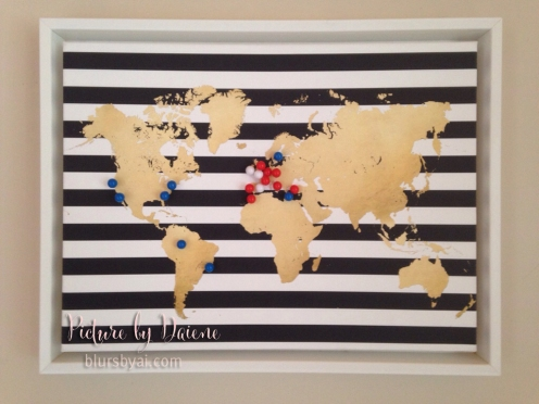 Gold, black and white travel pinboard