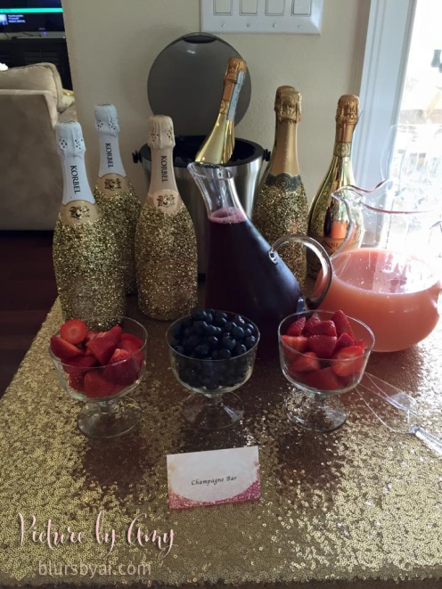 Bridal shower: champagne bar food label