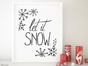 Let it snow art printable in black and white