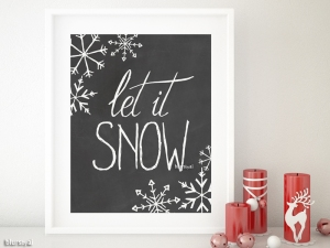 Let it snow art printable in white and chalkboard