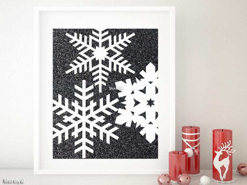 Geometric snowflakes print