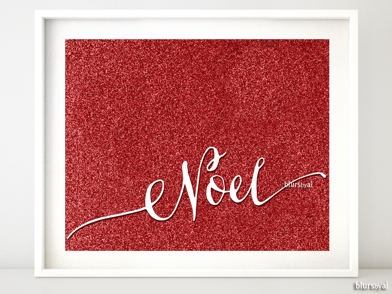 Noel printable in red glitter