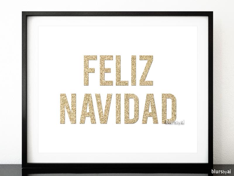 Feliz navidad printable in gold glitter