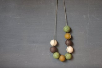 green and mustard polymer clay handmade necklace