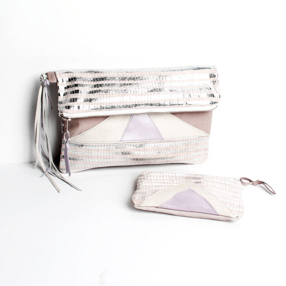 Geometric silver clutch and coin purser