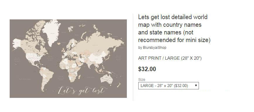 High detail world map print free shipping and 15 off for Society 6 promo code