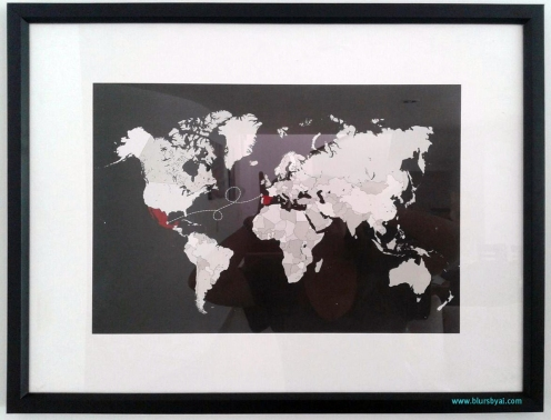 Moving gift: Spain to Mexico world map. Image courtesy of Luisa