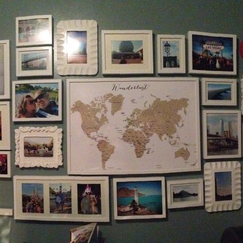 Travel collage wall. Image courtesy of Lorraine.