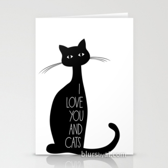 I love you and cats greeting card valentines card