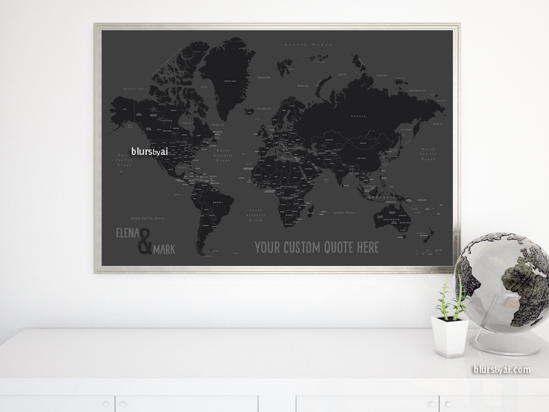 Black and white world map with countries and states labelled