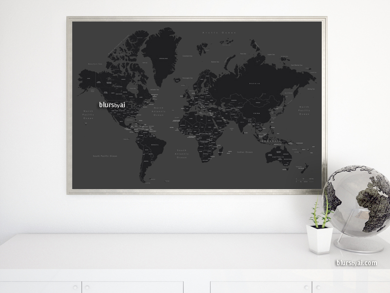 Black and white world map with countries and states labelled blursbyai black and white world map with country names and state names gumiabroncs Gallery