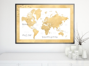 Wedding guestbook alternative Custom printable world map