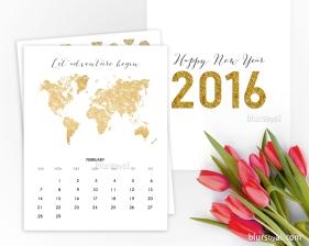 2016 printable calendar in gold
