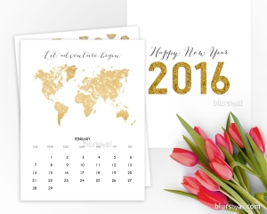 2016 printable calendar in gold