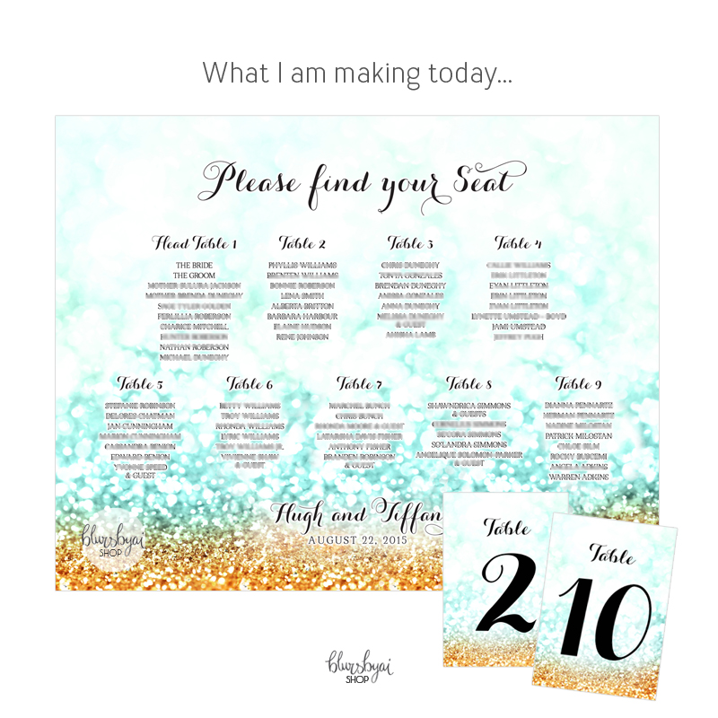 Wedding seating chart and numbers