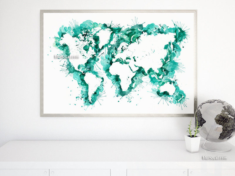 Teal watercolor world map