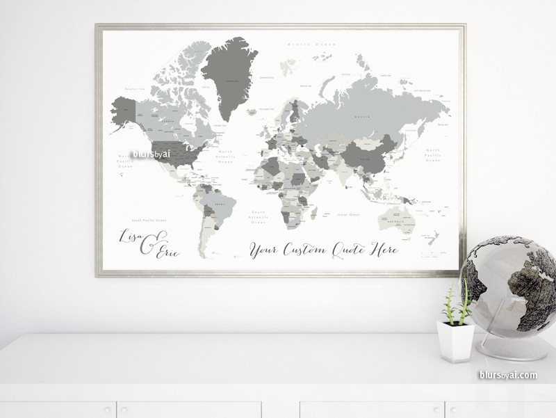 Grayscale world map with states