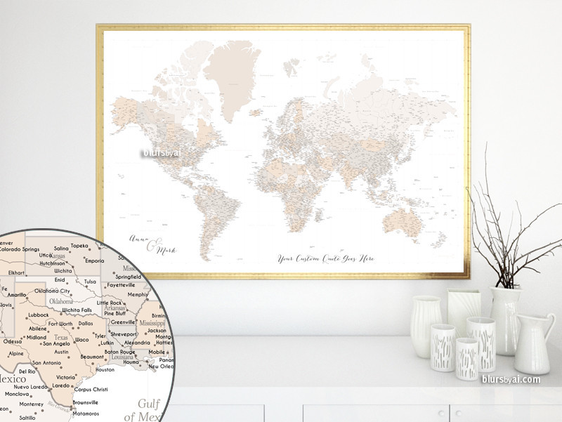Step By Step Guide For Creating A Custom Map Or Travel Pinboard - Us map pinboard