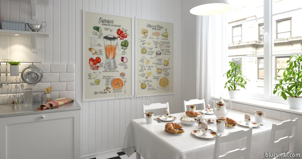 CocinaRustiGazpacho and Tortilla prints in Kitchen 3