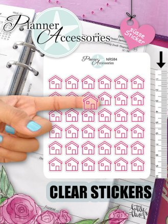 clear pink house stickers