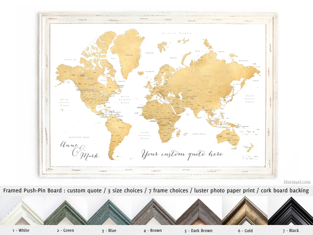 Elite push pin boards blursbyai blursbyaipushp push pin board gold foil world map sciox Images