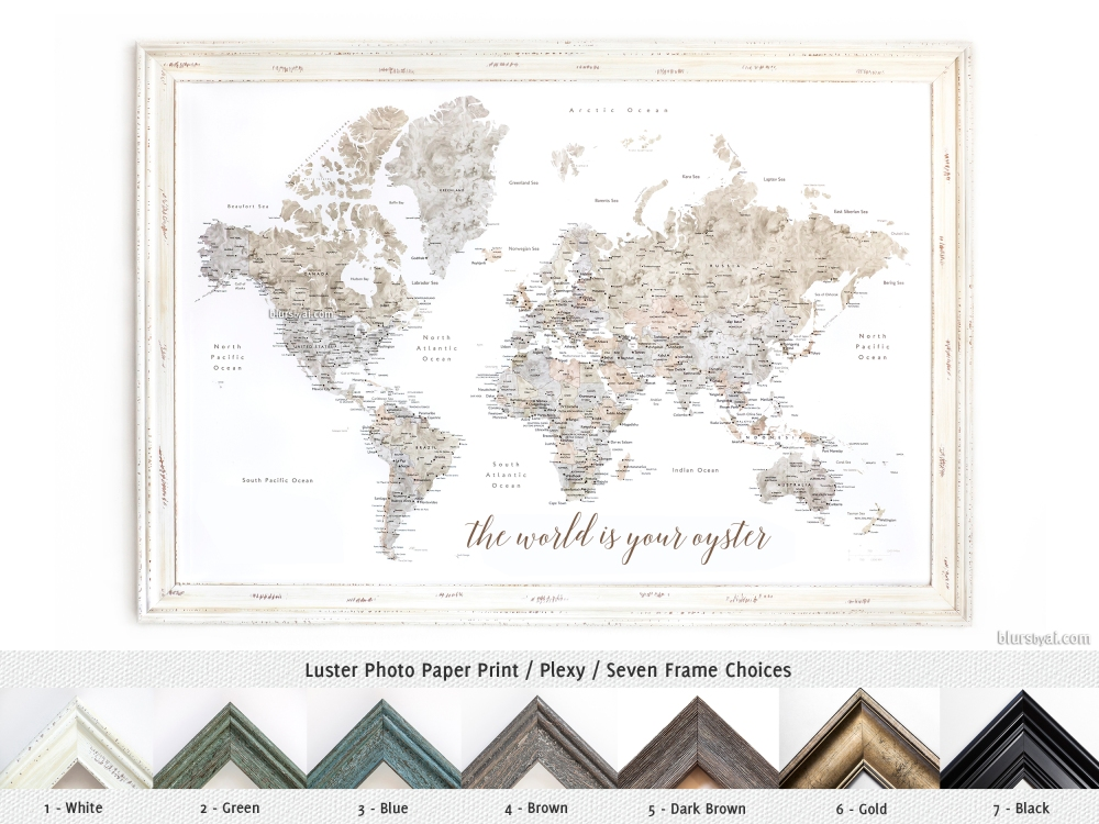 framed-world-map-prints-seven-choices-of-frames-handmade-in-us