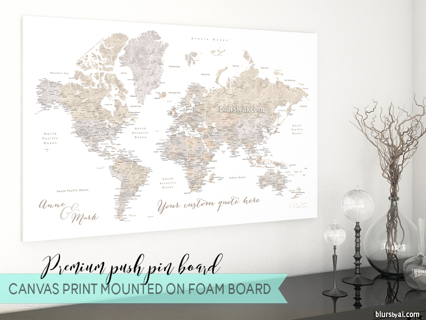 Premium push pin boards - world map pinboard