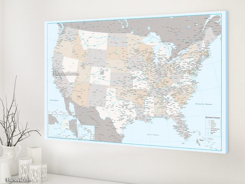 Us Map Canvas Print Detailed Map With Main . Digital Downloads Or Art Prints  ...