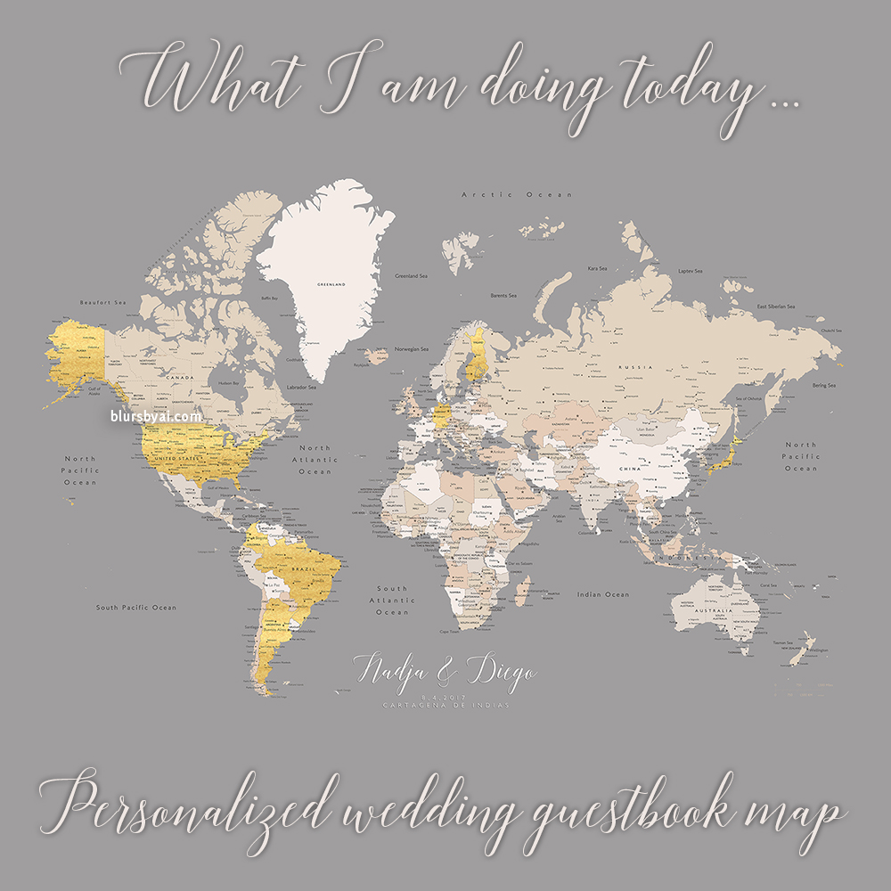 personalized world map as wedding guestbook alternative