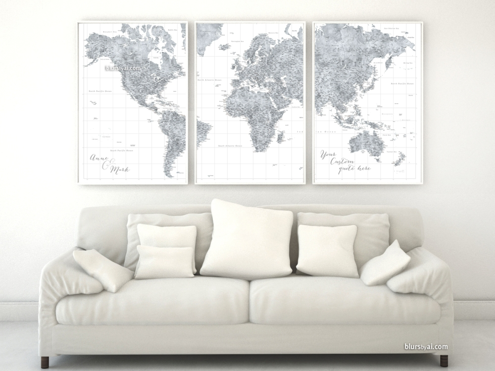 Highly detailed world map in grayscale watercolor