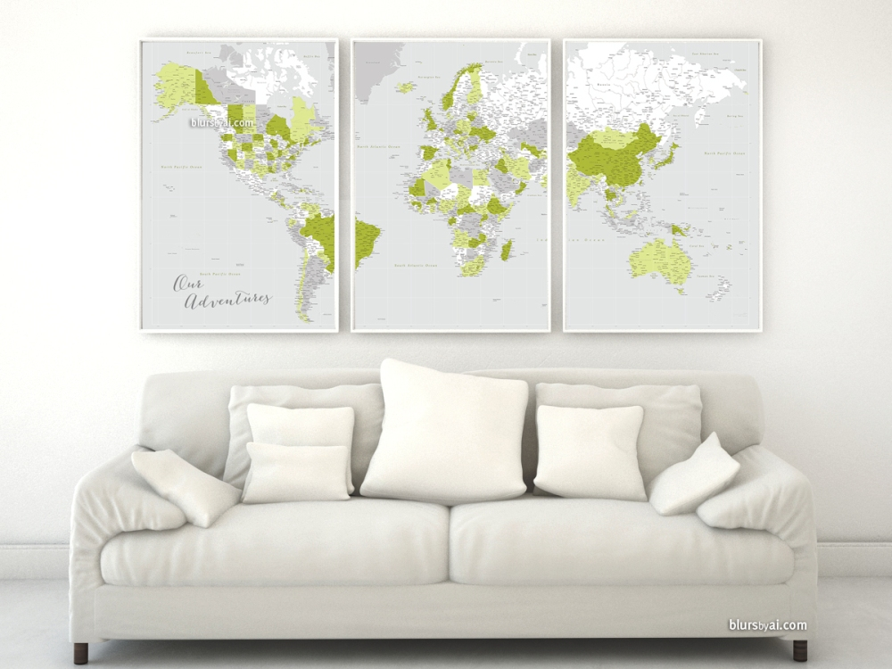 Moss green and gray highly detailed world map