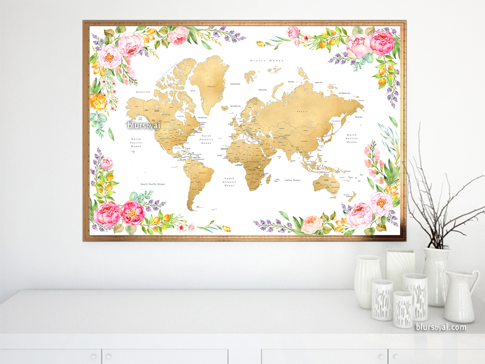 floral-world-map-print-gold-and-colorful