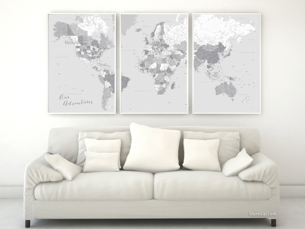 Highly detailed world map in grayscale