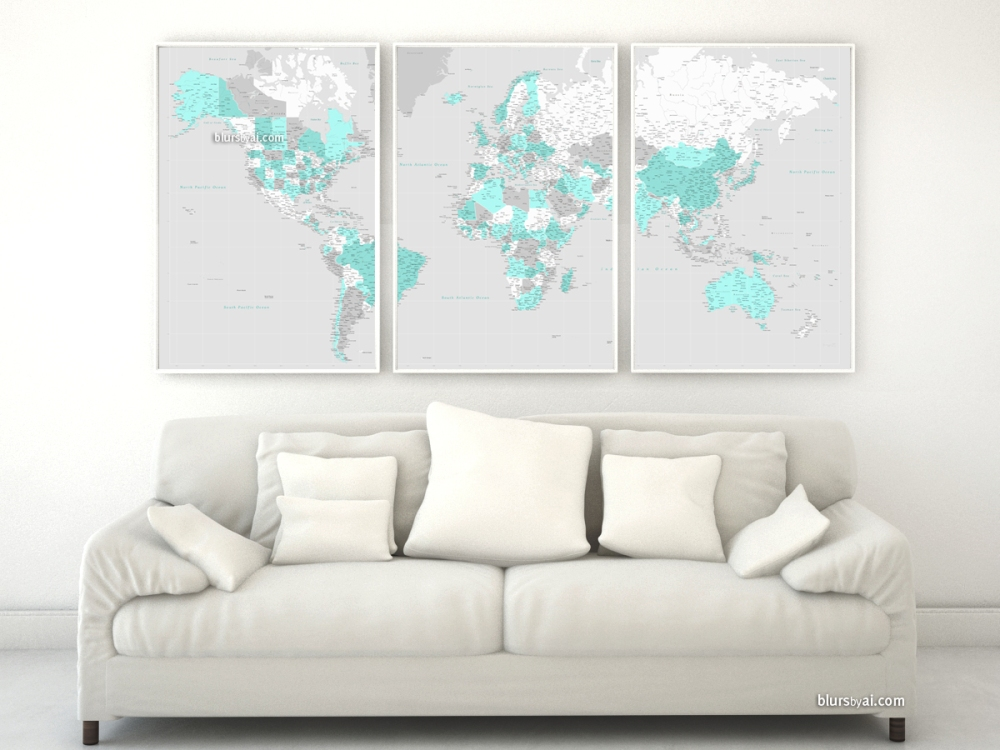 highly detailed world map in aquamarine, white and gray