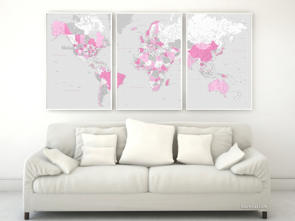 Highly detailed world map in pink gray and white
