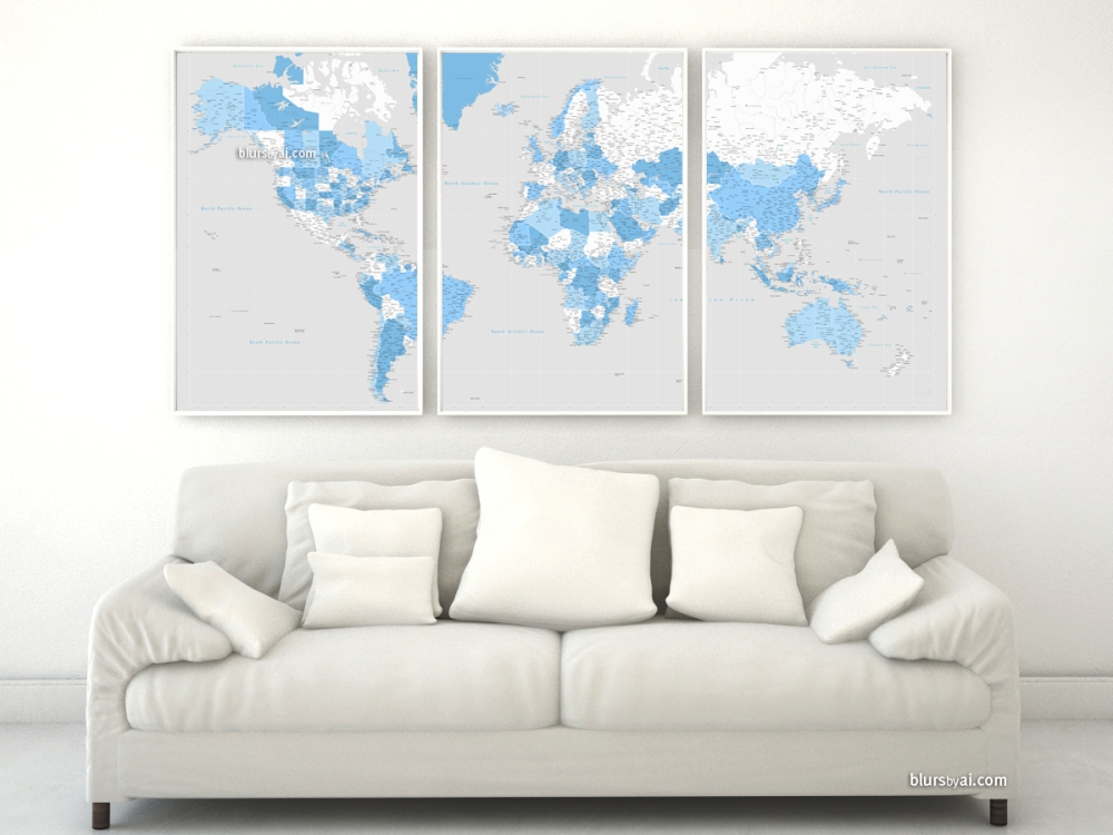 Highly detailed world map in blue and gray