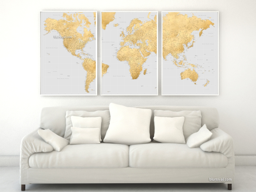 Highly detailed world map in gold and gray
