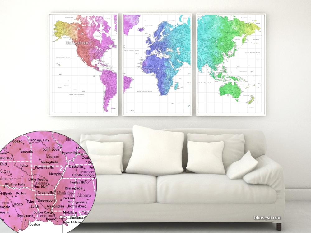 map151-053-gradient-colorful-watercolor-world-map-in-3-panels-close-up