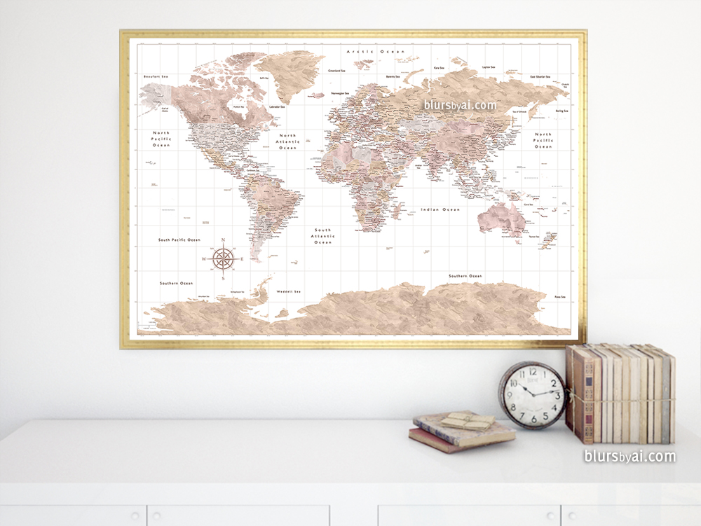 New Design Abey Watercolor World Map With Cities And Antarctica - Antarctica cities map
