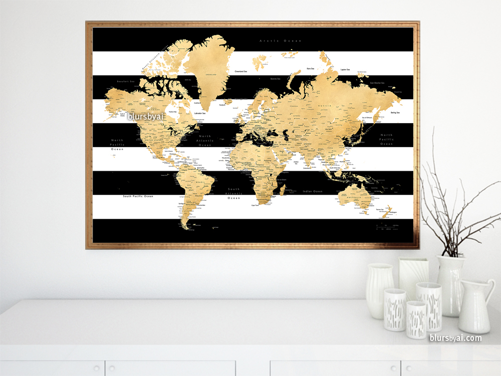 New design gold effect world map with cities in striped world map in gold and black and white gumiabroncs Images