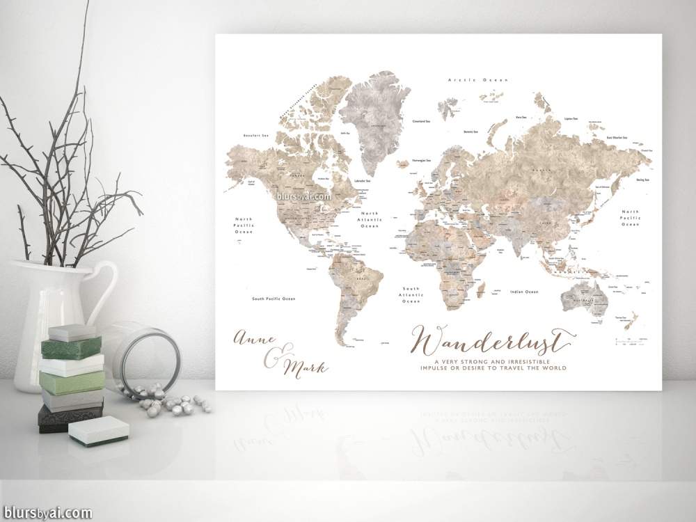 abey personalized world map in neutral watercolor style available as world map with cities and as world map with countries states