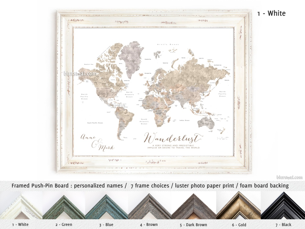 "Best seller ""Abey"" watercolor world map, now available in smaller ..."