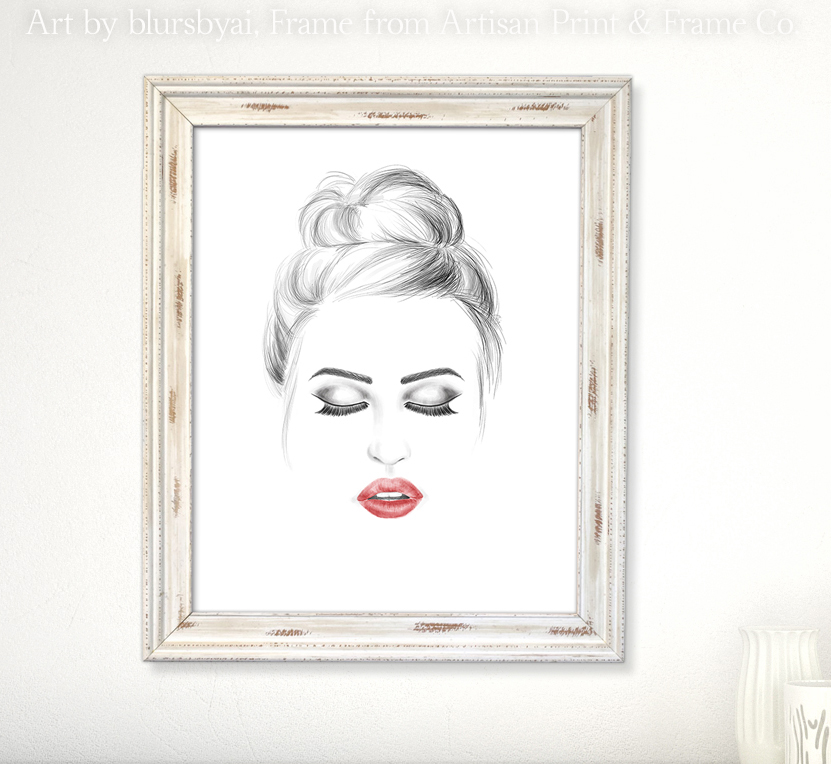 fashion illustration model face red lips cblursbyai